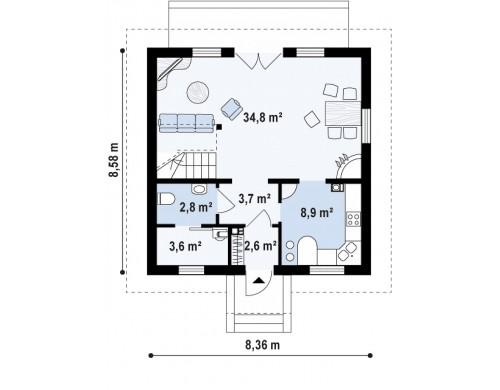 Проект Z1 k Версия проекта Z1 с альтернативной отделкой фасадов из кирпича.  Проекты домов и гаражей