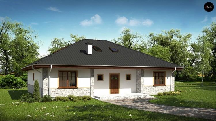 Проект дома Z10 с углом наклона кровли 30 градусов и мансардой.