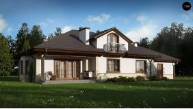 Проект дома Z10 с гаражом с левой стороны, мансардой и балконом.