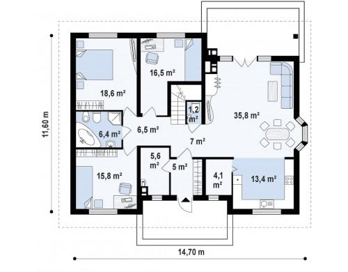 Проект дома Z10 с лестницей, ведущей на второй этаж
