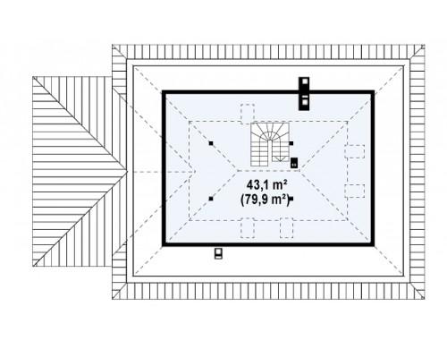 Проект дома Z10 с гаражом с левой стороны и с лестницей, ведущей на второй этаж.