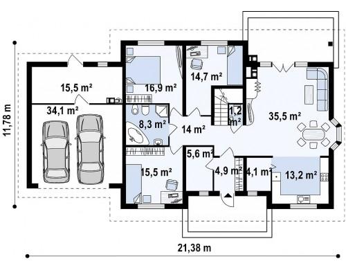 Проект дома Z10-2 с гаражом для двух машин с левой стороны.