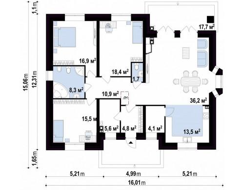 Проект Z10 k Версия проекта Z10 с кирпичной облицовкой фасадов.  Проекты домов и гаражей