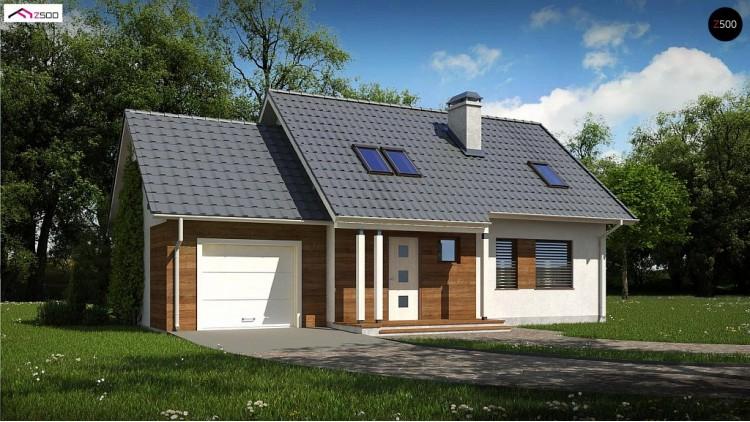 Проект Z101 D GL Мансардный домик с гаражом и тремя спальнями  Проекты домов и гаражей