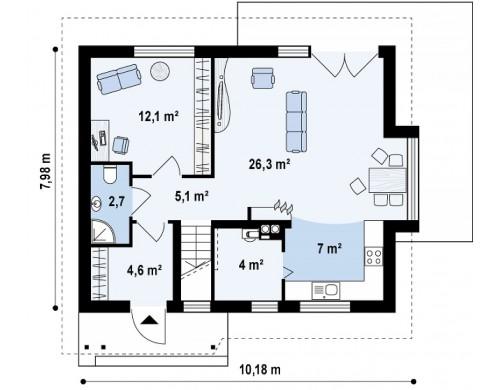 Готовый проект дома с мансардным этажом из кирпича, газобетона Z101, купить готовый проект дома из кирпича, газобетона