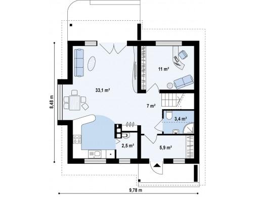 Проект компактного дома с мансардой, эркером в дневной зоне и c кабинетом на первом этаже - Z102