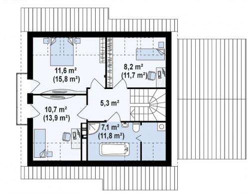 Проект Z102 GP Версия проекта дома Z102 с гаражом, пристроенным справа.  Проекты домов и гаражей