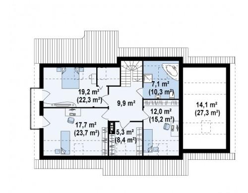 Проект просторного функционального дома с мансардой, гаражом для одной машины и дополнительной спальней на первом этаже - Z103