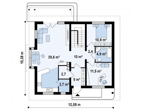 Проект функционального дома с дополнительной небольшой ночной зоной на первом этаже - Z104