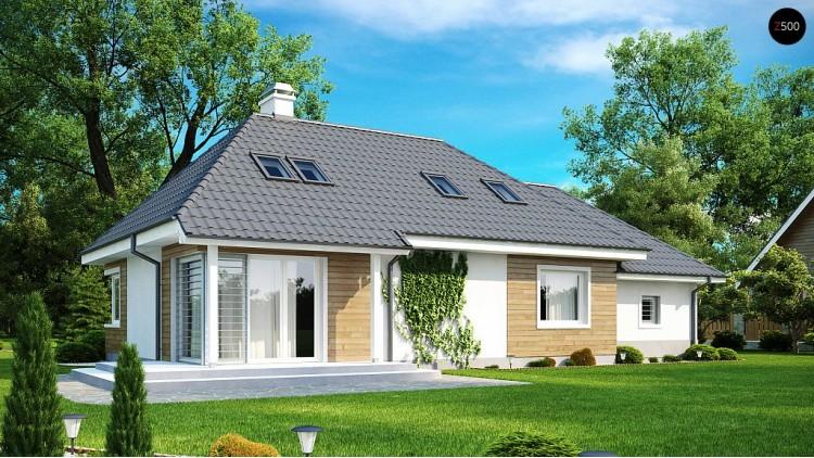 Проект комфортного дома с кабинетом на первом этаже и угловыми окнами в дневной зоне Z105