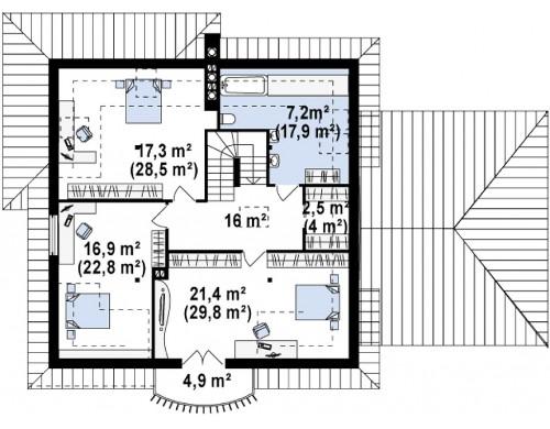 Проект Z109 GP2 Версия проекта с гаражом на 2 машины  Проекты домов и гаражей