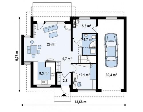 Проект функционального и уютного дома с современными элементами в архитектуре - Z110