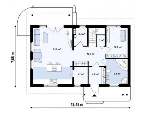 Проект традиционного дома с кабинетом и большой ванной комнатой на первом этаже Z111