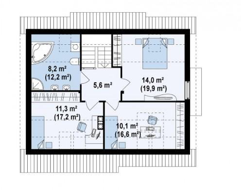 Проект функционального дома с кабинетом на первом этаже, удобный для участка с южным въездом - Z113