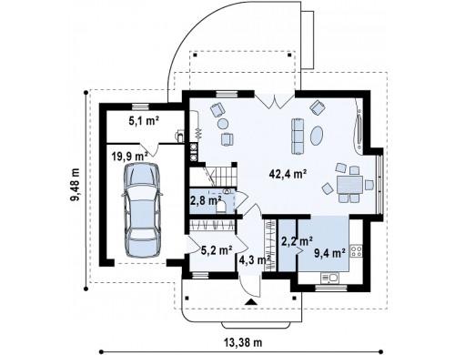 Проект практичного дома с эркером и гаражом на одну машину - Z114