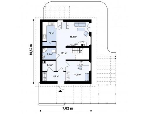 Проект двухэтажного дома простой формы - Z115