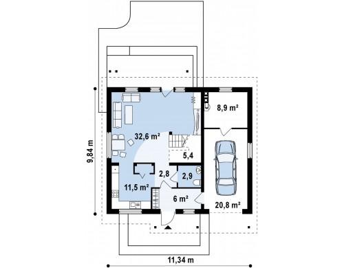 Проект дома с мансардой и встроенным гаражом для одной машины - Z119