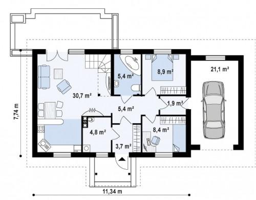 Проект Z12 P GP Версия проекта Z12 с мансардой и гаражом.  Проекты домов и гаражей