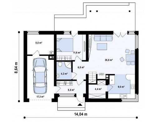 Проект дома со встроенным гаражом, красивым мансардным окном и антресолью над гостиной - Z122