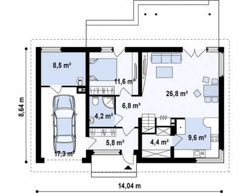 Проект Z122 v2 Версия проекта Z122 c дополнительной комнатой на мансарде вместо нового света.  Проекты домов и гаражей