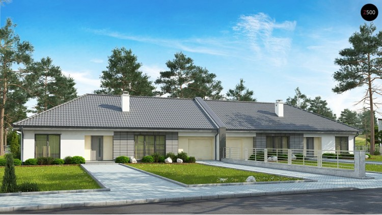 Проект Z123 ZBL Проект дома для симметричной застройки на основе проекта Z123.  Проекты домов и гаражей