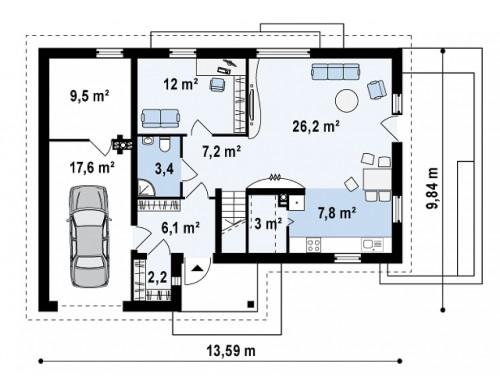 Практичный дом L-образной формы с гаражом на одну машину и дополнительной спальней на первом этаже - Z125