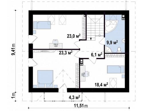Проект функционального и уютного дом с дневной зоной, расположенной со стороны входа - Z128