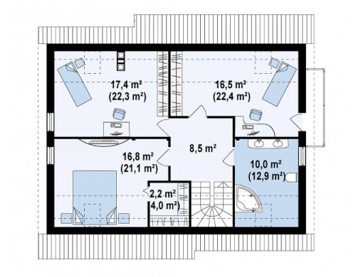 Проект дома со встроенным гаражом, с эркером в столовой и балконом - Z129