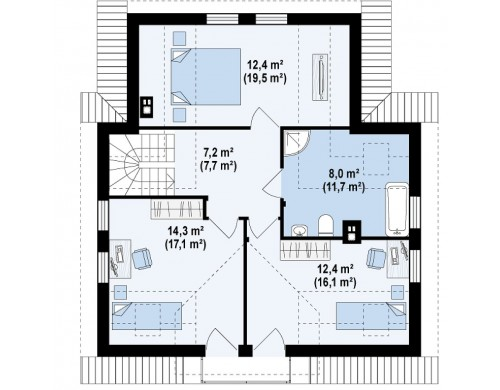 Проект дома с балконом над входом - Z13