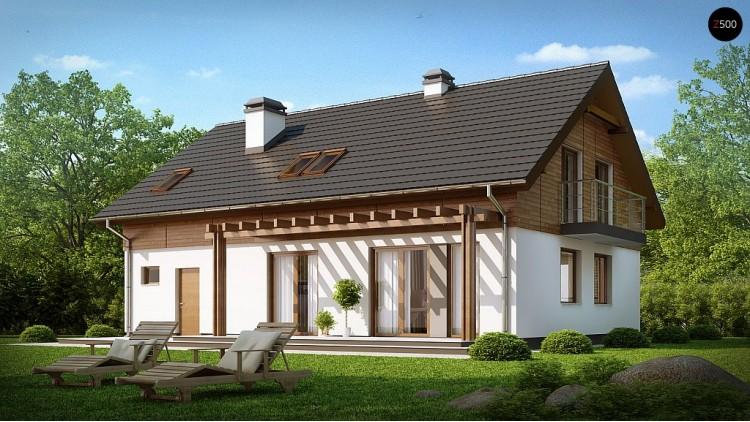 Проект дома с мансардой и встроенным гаражом - Z130