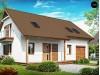 Проект практичного дома с мансардой, встроенным гаражом и дополнительной спальней на первом этаже - Z133