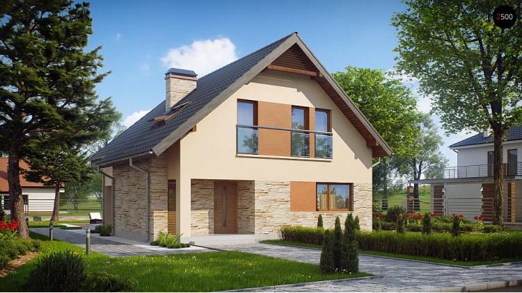 Проект аккуратного и удобного дома с мансардой - Z134