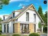 Проект комфортного дома с мансардными окнами, с фронтальным гаражом на одну машину - Z135
