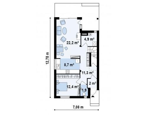 Проект дома с современными элементами отделки фасадов. Подходит для узкого участка - Z137