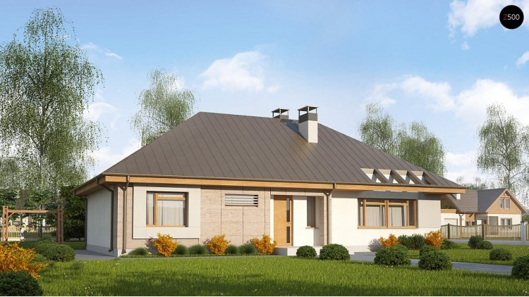 Проект дома Z140 с фронтальным расположением кухни.