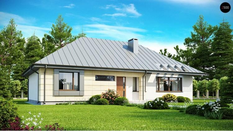 Проект одноэтажного дома с возможностью обустройства чердачного помещения, оптимальный для южного въезда на участок - Z140