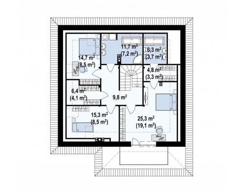 Проект дома с боковой террасой и необычным мансардным окном - Z143