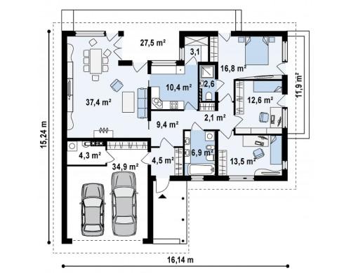 Проект одноэтажного c гаражом для двух авто, с возможностью обустройства мансарды - Z144