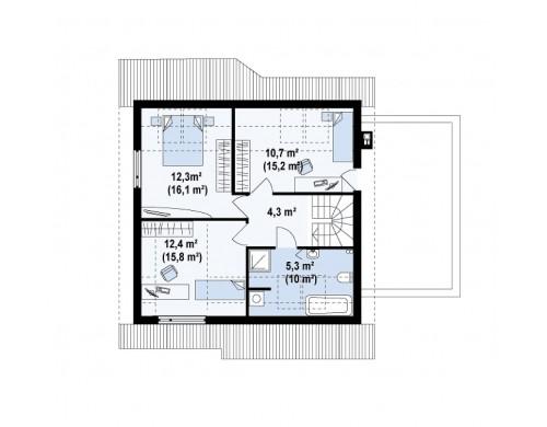 Проект Z146 GP Вариант мансардного проекта Z146 c гаражом с правой стороны  Проекты домов и гаражей