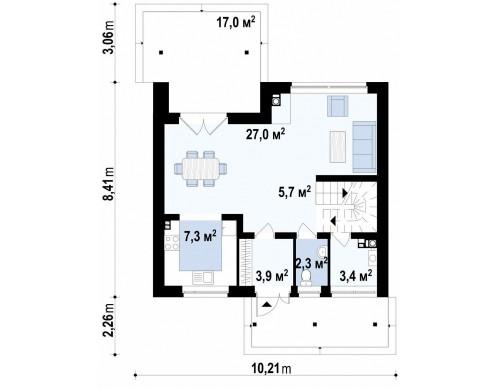 Проект небольшого практичного дома, выгодного в строительстве и эксплуатации - Z146