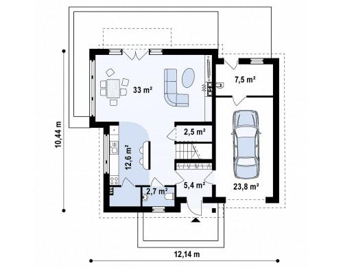Проект удобного функционального дома простой формы с двускатной крышей - Z147