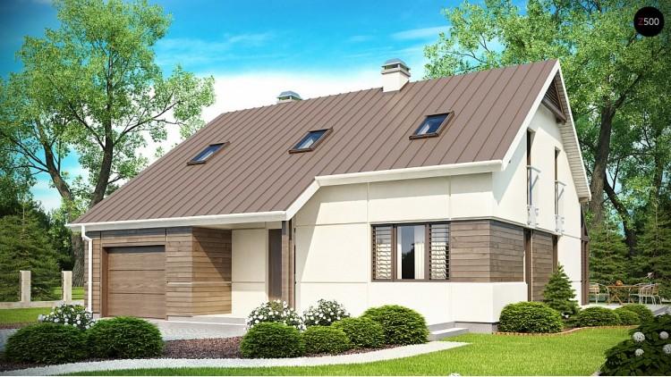 Проект дома с мансардой, с дополнительной спальней на первом этаже и с застекленной террасой - Z148