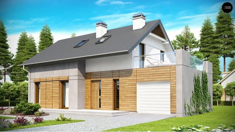 Проект удобного дома с террасой над гаражом, с современными элементами архитектуры - Z149