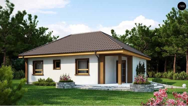 Проект небольшого комфортный одноэтажного дома в форме буквы «L» с тремя спальнями.