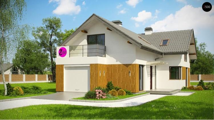Проект Z150 GL Версия проекта Z150 с гаражом вместо дополнительного помещения.  Проекты домов и гаражей