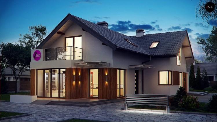 Проект удобного дом с мансардой, с дополнительным помещением для коммерческого использования на первом этаже - Z150
