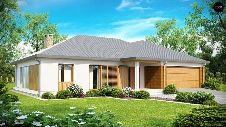 Проект практичного одноэтажного дома с фронтальным выступающим гаражом и крытой террасой - Z152