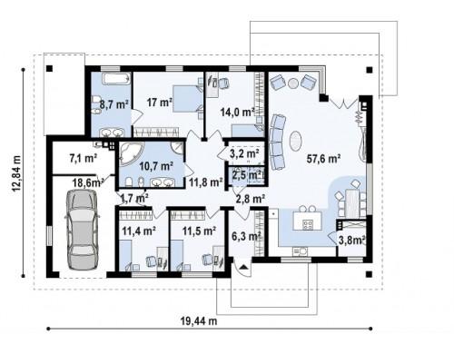 Проект Z153 GL Версия дома Z153 с гаражом, встроенным в корпус здания.  Проекты домов и гаражей