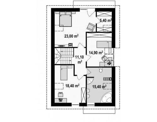 Проект дома в традиционном стиле с мансардой, со встроенным гаражом, подходящий для узкого участка - Z154