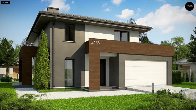 Проект Z156 A minus Уменьшенная версия проекта z156 с гаражем и стильным фасадом  Проекты домов и гаражей